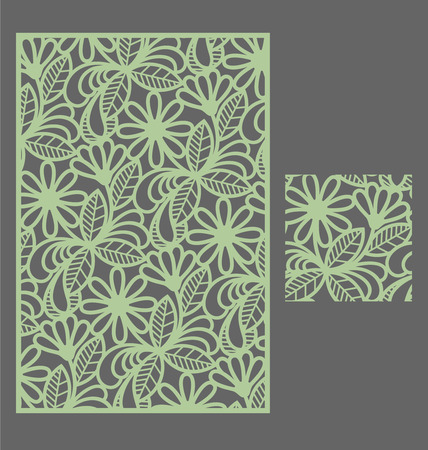 Laser cut panel and the seamless pattern for decorative panel. A picture suitable for printing, engraving, laser cutting paper, wood, metal, stencil manufacturing. Stock Illustratie