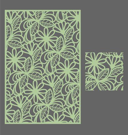 Laser gesneden paneel en het naadloze patroon voor decoratieve paneel. Een beeld geschikt voor het printen, graveren, laser snijden van papier, hout, metaal, stencil productie. Stock Illustratie