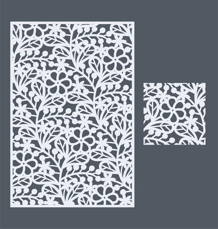 laser cutting: Laser cut panel and the seamless pattern for decorative panel. A picture suitable for printing, engraving, laser cutting paper, wood, metal, stencil manufacturing. Illustration