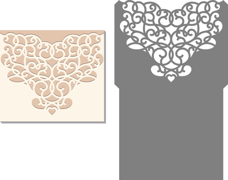 Laser Cut Invitation Card. Laser cutting pattern for invitation wedding card. Wedding invitation envelope template. Illustration