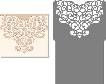 corte laser: Tarjeta de la invitación del corte del laser. patrón de corte por láser para la tarjeta de invitación de boda. plantilla de sobre de la invitación de la boda. Vectores