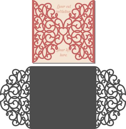 Laser-Schnitt-Einladungs-Karte. Laserschneiden Muster für die Einladung Hochzeit Karte. Einladung zur Hochzeit Umschlag-Vorlage. Illustration