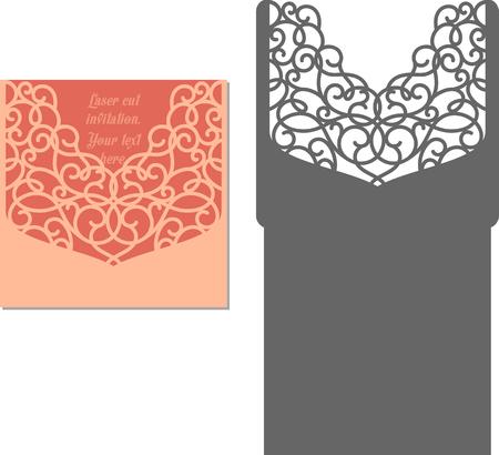 envelopes: Laser Cut Invitation Card. Laser cutting pattern for invitation wedding card. Wedding invitation envelope template. Illustration