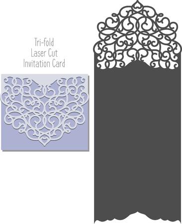 Laser Cut Invitation Card. Laser cutting pattern for invitation wedding card. Wedding invitation envelope template. Illustration