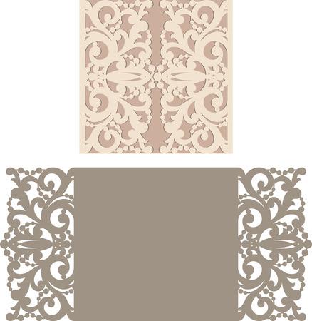 cut paper: Laser Cut Invitation Card. Laser cutting pattern for invitation wedding card.