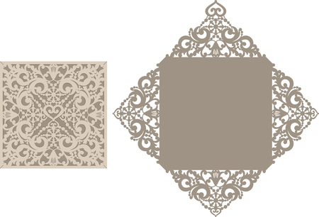 paper art: Laser Cut Invitation Card. Laser cutting pattern for invitation wedding card.