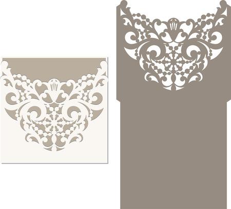corte laser: Tarjeta de la invitación del corte del laser. patrón de corte por láser para la tarjeta de invitación de boda.