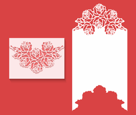 Paper greeting card with lace border pattern of roses. Cut out template for cutting. Suitable for laser cutting. Laser cut envelope template for wedding card invitation Ilustração
