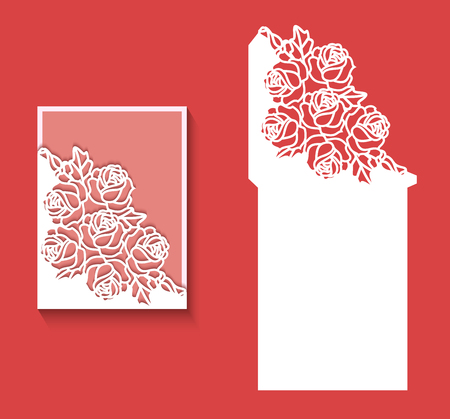 Paper greeting card with lace border pattern of roses. Cut out template for cutting. Suitable for laser cutting. Laser cut envelope template for wedding card invitation Ilustrace