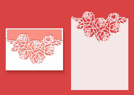 Paper greeting card with lace border pattern of roses. Cut out template for cutting. Suitable for laser cutting. Laser cut envelope template for wedding card invitation Vettoriali