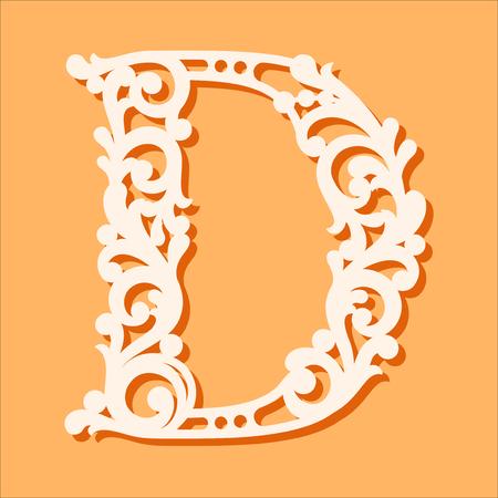 Plantilla de corte láser. Letras iniciales del monograma. Letra del alfabeto floral de lujo. Puede usarse para cortar papel. Letra de fuente del alfabeto de madera floral. Patrón de corte de filigrana. Ilustración vectorial