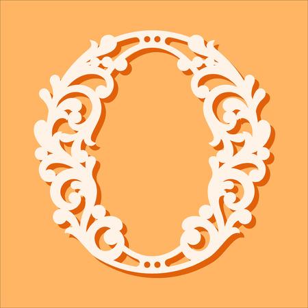 レーザーカットテンプレート。最初のモノグラム文字。派手な花のアルファベット文字。紙切れに使用できます。花の木製アルファベットのフォント文字。フィリグリーカットアウトパターン。ベクトルの図