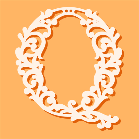 Laser cut template. Initial monogram letters. Fancy floral alphabet letter. May be used for paper cutting. Floral wooden alphabet font letter. Filigree cutout pattern. Vector illustration Vector Illustration