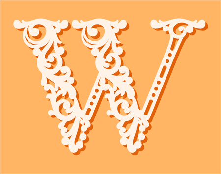 Laser cut template. Initial monogram letters. Fancy floral alphabet letter. May be used for paper cutting. Floral wooden alphabet font letter. Filigree cutout pattern. Vector illustration