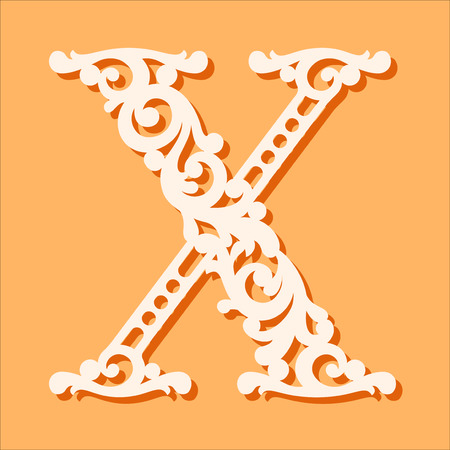 Laser Cut Template Initial Monogram Letters Fancy Floral Alphabet Letter May Be Used
