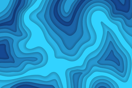 Papercut multi layers 3D color texture vector background. Abstract topography concept design or flowing liquid illustration for website template.