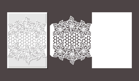 Laser cut envelope template for invitation wedding card. Paper greeting card with lace border. Cut out template for cutting. Suitable for laser cutting.
