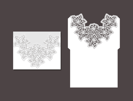 Laser cut envelope template for invitation wedding card. Paper greeting card with lace border. Cut out template for cutting. Suitable for laser cutting. Vektorové ilustrace