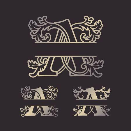 Monogrammi divisi in alfabeto, monogramma a lettera divisa, carattere cornice alfabeto. Modello tagliato al laser. Lettere iniziali del monogramma.