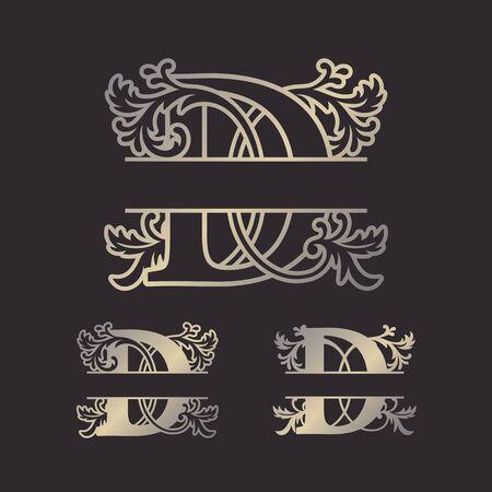 Monogrammi divisi in alfabeto, monogramma a lettera divisa, carattere cornice alfabeto. Modello tagliato al laser. Lettere iniziali del monogramma. Vettoriali