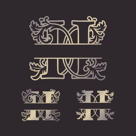 Alphabet Split Monograms, Split Letter Monogram, Alphabet Frame Font. Laser cut template. Initial monogram letters.