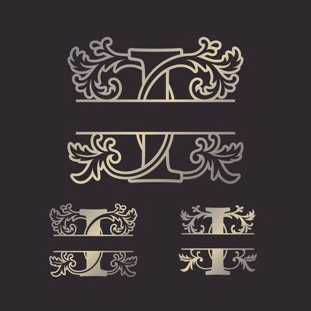 Alphabet Split Monograms, Split Letter Monogram, Alphabet Frame Font. Laser cut template. Initial monogram letters. Vettoriali