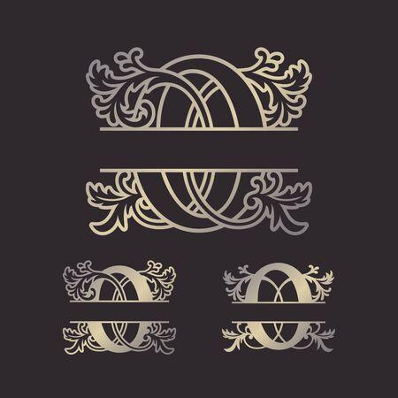 Alphabet Split Monograms, Split Letter Monogram, Alphabet Frame Font. Laser cut template. Initial monogram letters. Иллюстрация