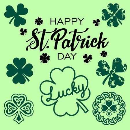St Patrick Day Bundle, Clover Lucky, Saint Patrick Shamrock, Clover Leaf, Trefoil