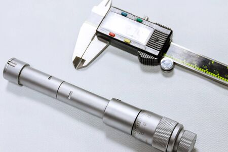 Calibration Bore micrometer. Calipers. Devices for accurate measurement of hole diameter. Stock Photo