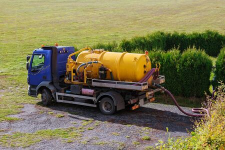 Sewer pumping machine. Sewage Tank truck. Septic truck