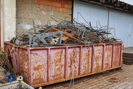 Scrap metal recycling. Scrap metal and aluminum scrap from production for processing.