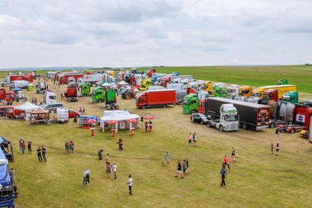 Skutech, Czech Republic, 27 June 2020: Truck Show. Transport festival in the Czech Republic. Truck Fest weekend with kids. Truckers charity event for children.