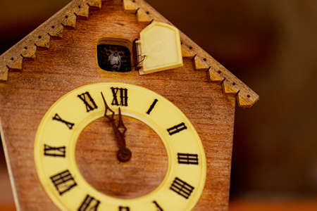 Clock face retro clock with cuckoo with roman numerals. The cuckoo calls at 12 oclock