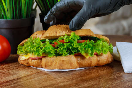 Fresh croissant with ham and salad leaf with sfresh salad.