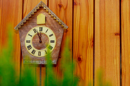 Cuckoo clock with Roman numerals on a wooden wall. Copy space. New Year.