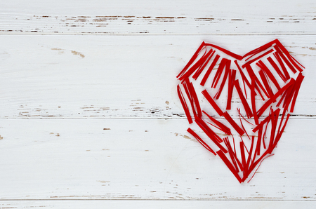 red heart maden from small paper pieces Stok Fotoğraf