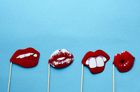 Photo props - Mouth and lips on blue background