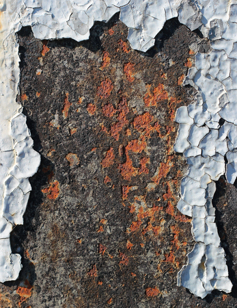 flaking: Flaking paint on rusty metallic surface Stock Photo