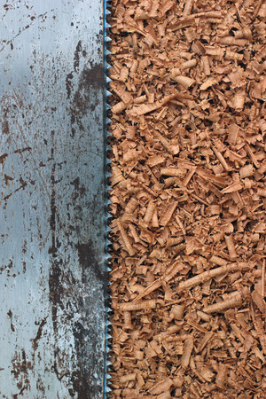 shavings: Wood shavings texture and saw blade background