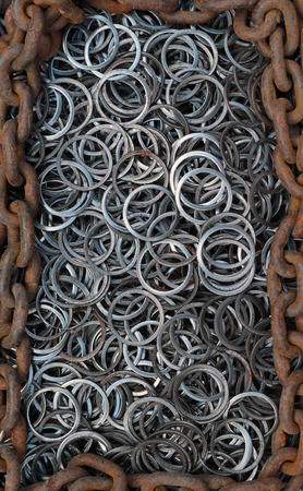 runoff: Metal rings and rusty chain. Background image