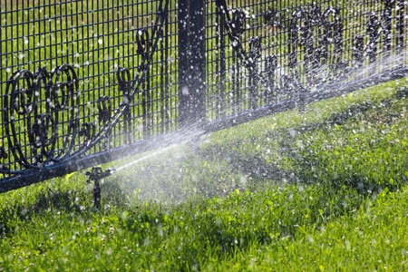 lawn sprinkler: Lawn sprinkler spraying water over green grass and metal fence. Irrigation system - technique of watering in the garden.