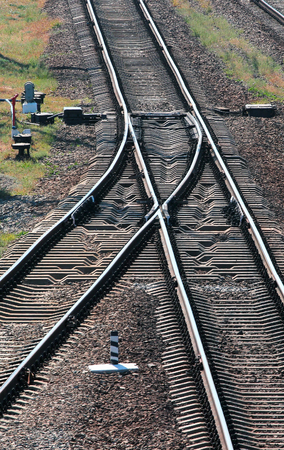 turnout: Railway tracks switch. Perspective view of rails and sleepers