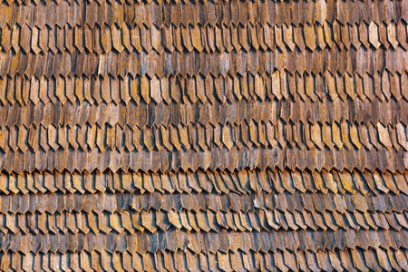 shingles: Old brown wooden shingles roof texture background