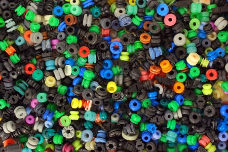 medley: colorful medley of rubber washers pads gaskets background Stock Photo