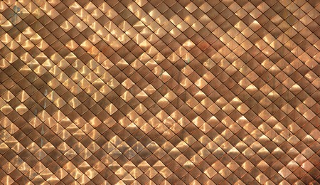 Shiny dirty copper shingles roofing pattern background