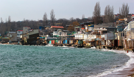 coastal erosion: Coastal erosion - houses built on weak clay soil slide down to the sea in Odessa, Ukraine.