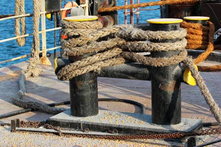 ship deck: Bitts on ship deck