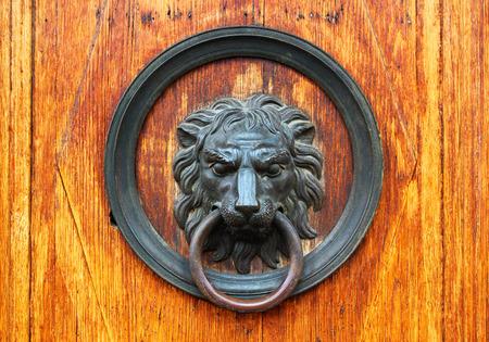 doorknocker: Fragment of old wooden door with bronze lions head as a doorknocker