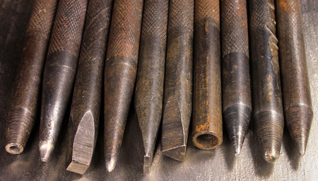 chisels: Old rusty hand iron punchers and chisels