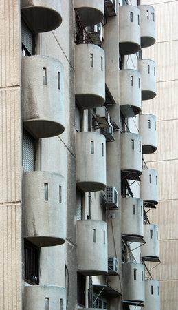haifa: Round balconies in apartment building, Haifa, Israel